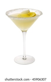 Lemon Drop mixed drink with lemon slice garnish and sugar cube on a white background