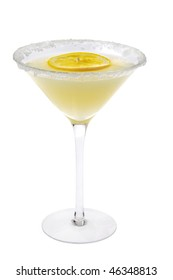 Lemon Drop mixed drink with lemon slice garnish on a white background