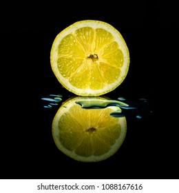 Lemon with drops
