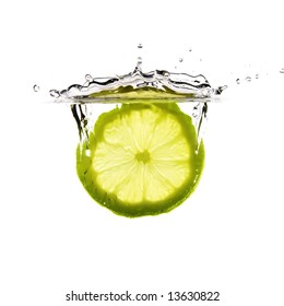 lemon falls into water