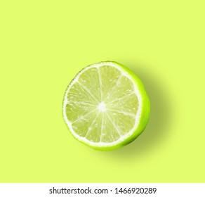 Lemon  Fluorescent colors.  Flat lay of cut ripe juicy grapefruit, lemon and orange on. Citrus pattern. Collage in pop art style
