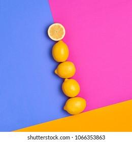 Lemon Fresh Citrus fruit. Fashion Summer Set. Food Organic Vegan Concept. Hot Sunny Vibes. Creative Bright Pink Yellow Color. Surreal, Minimal Style. Pop Art Design