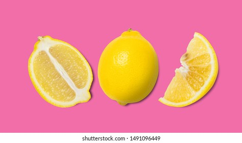 Lemon fresh and Half ball, slide, piece. isolated on pastelbackgrounds . Minimal fruit concept.