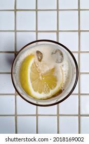 Lemon fruit in cold lemon drink