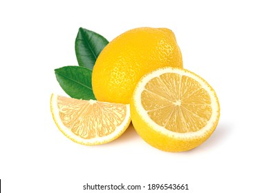 Lemon fruit with half and leaves isolated on white background.