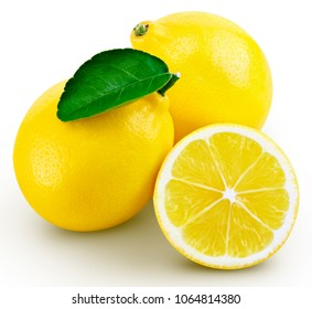lemon fruit with leaf isolated on white background leaf Clipping Path