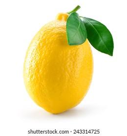 Lemon fruit with leaf isolated on white.