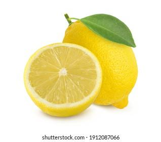 lemon fruit and sliced isolated on white background,fresh.