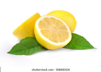 Lemon fruit and two half with green leaf isolated on white background cutout.