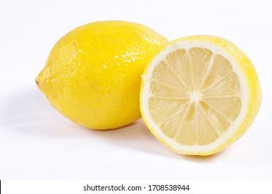 Lemon fruit with a white background