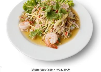 lemon glass salad with shrimp, thai spicy salad.