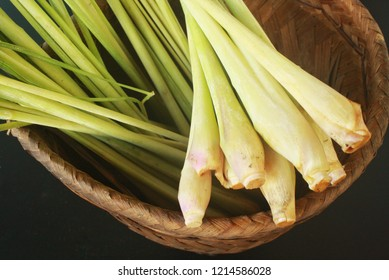 lemon grass in bamboo winker basket It is  popular for healthy ingredient in Thai food.It's smell is very strong and make food tasty.Making aroma therapy from its and water for drinking.