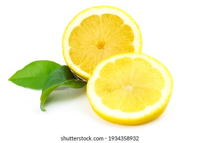 Lemon with green leaf, bio, healthy food isolated on white background