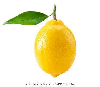 Lemon with green leaf isolated on white background, clipping path