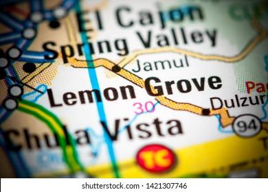 Lemon Grove. California. USA on a map