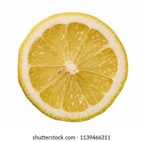 Lemon half fruit sliced isolate on white background seen from above flatlay style, close up.