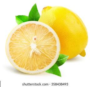 lemon with half of lemon isolated on the white background