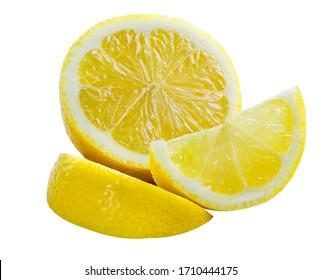 lemon half on the white background, lemon fruit slice isolated with clipping path