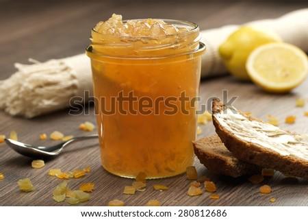 lemon homemade jam marmalade in a glass bowl