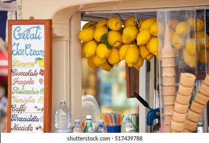Lemon ice cream kiosk in Capri, Italy.