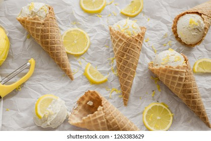 Lemon ice cream scoops and waffle cones