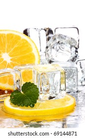 lemon and ice cubes
