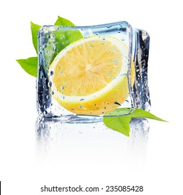 lemon in ice isolated on the white background