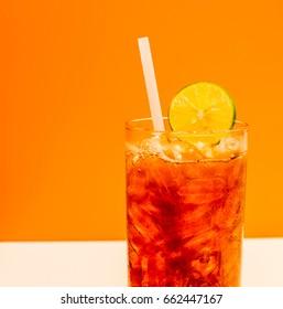 lemon ice tea, glass of healthy drink water