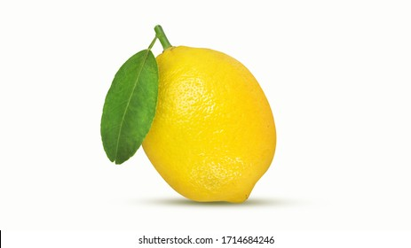 Lemon isolated on white background with clipping path,Juicy lemon with leaves,Ripe lemons