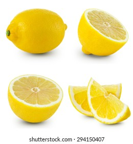 Lemon isolated on white collection