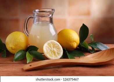lemon juice in glass carafe