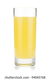 Lemon juice glass. Isolated on white background