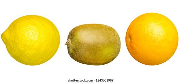 Lemon, Kiwi and Orange Fruit Mix isolated on white Background.
