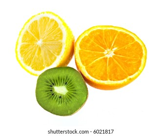 Lemon, kiwi, orange isolated on white background, close up