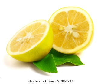 Lemon with leaf isolated on white