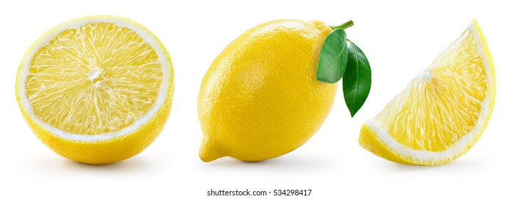 Lemon with leaf isolated on white background. Collection. Full resolution images # 249762298 246532927