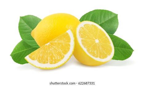 Lemon with leaves isolated on white background.