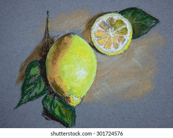 Lemon with leaves on isolated background. Original pastel painting on paper