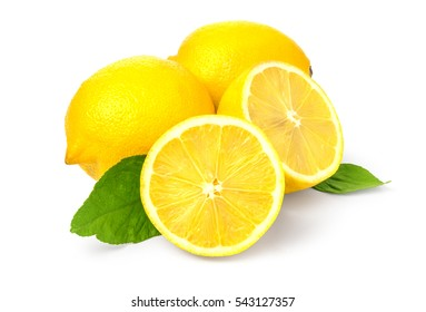 Lemon with leaves on white background with clipping path