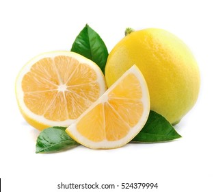 Lemon with leaves on white backgrounds