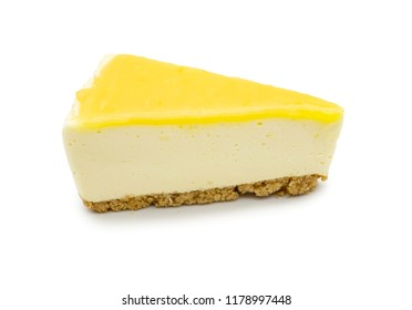 Lemon lime cheesecake isolate on white background