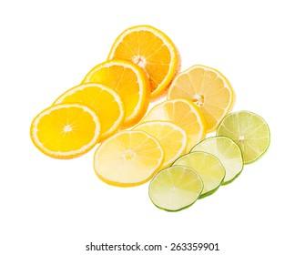 lemon, lime and orange isolated on white background