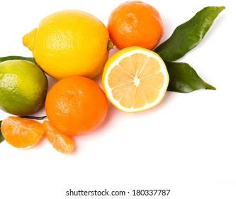 Lemon, lime, tangerine and orange isolated on white background