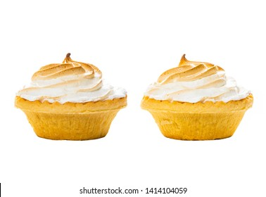 Lemon Meringue Pie. Small Lemon Meringue Pie Dessert Shortcrust Pastry with Lemon Custard Filling and Fluffy Meringue Topping Isolated on a white background. Selective focus.