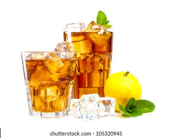Lemon and mint ice tea isolated on white