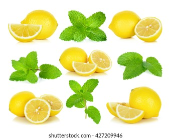 Lemon and  mint isolated on the white background.