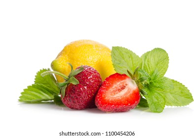 lemon, mint leaves and strawberries isolated on white