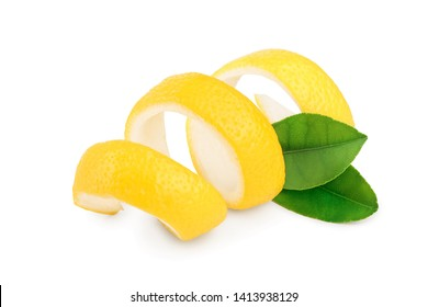 Lemon peel with leaf isolated on white background. Healthy food