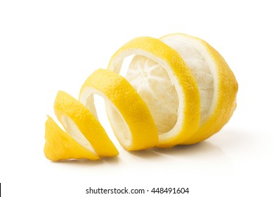 lemon and peel on white background