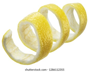 Lemon peel or lemon twist on white background. File contains clipping path.